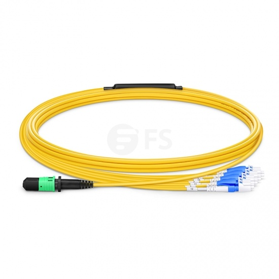 5m (16ft) MPO Female to 4 LC UPC Duplex 8 Fibers Type B LSZH OS2 9/125 Single Mode Elite Breakout Cable, Yellow