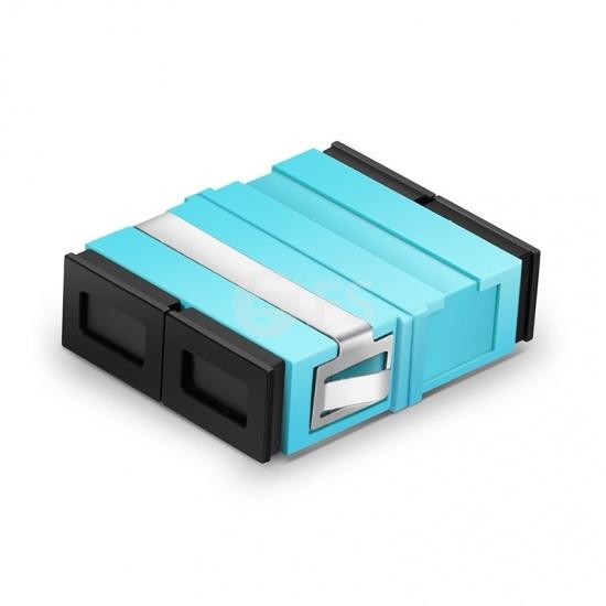 SC/UPC to SC/UPC 10G Duplex OM3/OM4 Multimode Plastic Fibre Optic Adapter/Mating Sleeve without Flange, Aqua