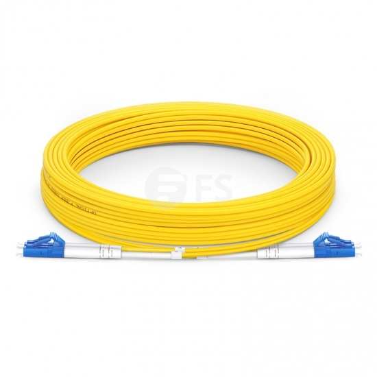 25m (82ft) LC UPC to LC UPC Duplex OS2 Single Mode PVC (OFNR) 2.0mm Fiber Optic Patch Cable