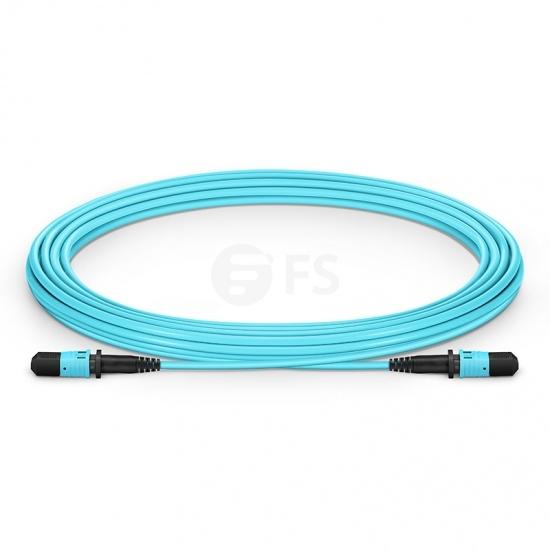 5m (16ft) MPO Female 12 Fibers Type B LSZH OM3 50/125 Multimode Elite Trunk Cable, Aqua