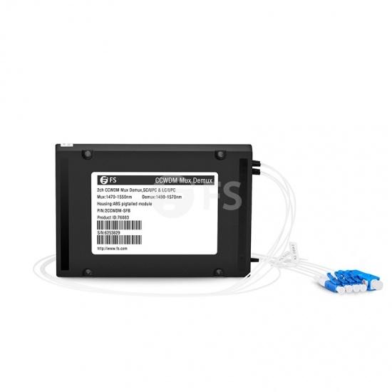 Multiplexor Demultiplexor CCWDM Mux Demux de única fibra con 2 canales SC/UPC(Line) LC/UPC(Client) 1470-1550nm, lado B, módulo ABS pigtailed