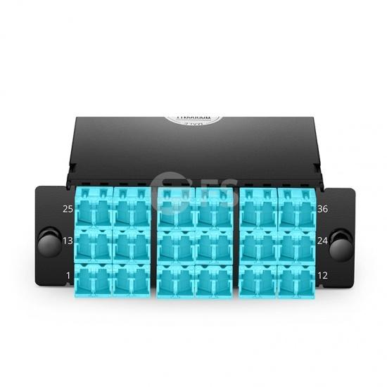 Cassette FHD 3x MTP®-12, 36 fibras OM4 multimodo, tipo A, 3x 12F MTP® a 18x LC dúplex (aguamarina) con tapa shutter, máx. 0.35dB