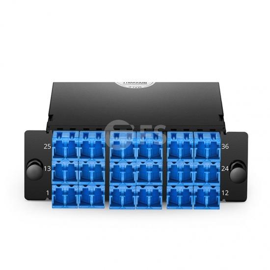 Cassette FHD 3x MTP®-12, 36 fibras OS2 monomodo, tipo A, 3x 12F MTP® a 18x LC dúplex (azul) con tapa shutter, máx. 0.35dB