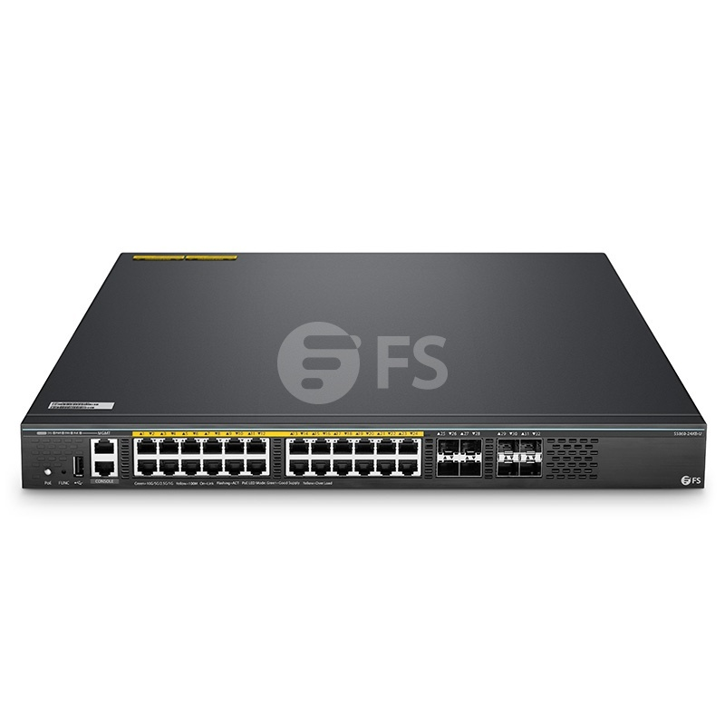 Switch/Commutateur de Convergence Ethernet L3 Géré Empilable, 24 Ports Multigigabit 10G BASE-T et 4 Ports SFP+ 10Gb, 4 Uplinks SFP28 25Gb, Puce Broadcom, S5860-24XB-U