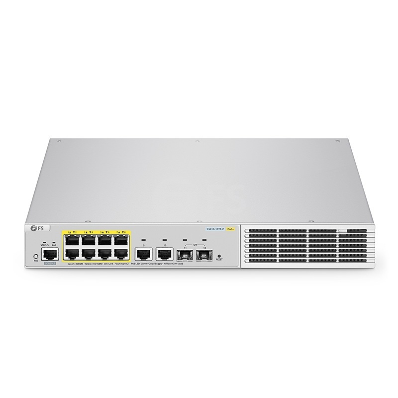 S3410-10TF-P, 10-Port Gigabit Ethernet L2+ Fully Managed Pro PoE+ Switch, 8 x PoE+ Ports @125W, with 2 x 1Gb SFP Uplinks, Broadcom Chip, Fanless