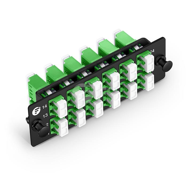 Panneau d'Adaptateur à Fibre Optique FHD, 24 Fibres OS2 Monomode et 12 Ports Adaptateurs LC APC Duplex (Vert) , Manchon en Céramique