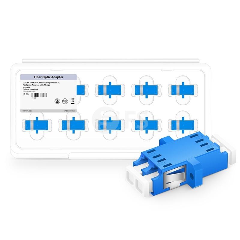 LC/UPC to LC/UPC Duplex Single Mode SC Footprint Plastic Fiber Optic Adapter/Coupler with Flange (10pcs/pack)