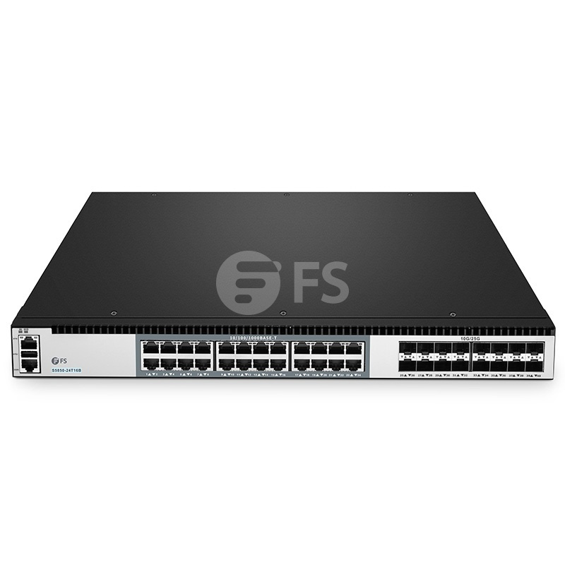 S5850-24T16B, switch Plus completamente administrable capa 3 de 24 puertos gigabit ethernet, 24 x Gigabit RJ45, 16 x enlaces ascendentes SFP28 25Gb, infraestructura hiperconvergente