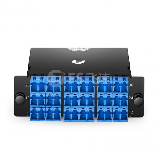FHD 36芯 OS2 MTP®光纤配线盒,3xMTP®-12转18xLC双工,AF极性,0.35dB插损
