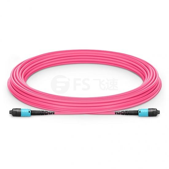 10m 12芯 US Conec MTP® PRO (公头) OM4 50/125 多模极性转换主干光纤跳线, 极性B Plenum (OFNP)