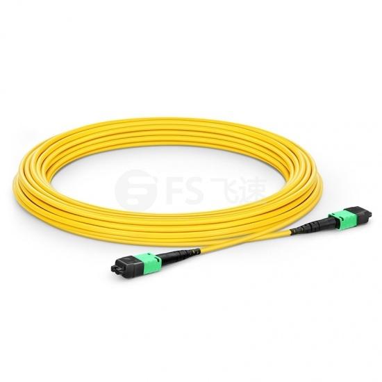 15m 12芯 US Conec MTP® PRO (公头)OS2 9/125单模极性转换主干光纤跳线, 极性B Plenum (OFNP)