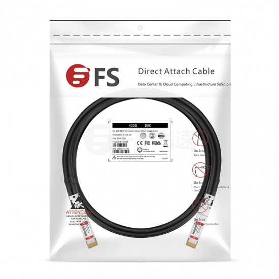 3m 飞速(FS) 400G QSFP-DD 无源铜芯高速线缆