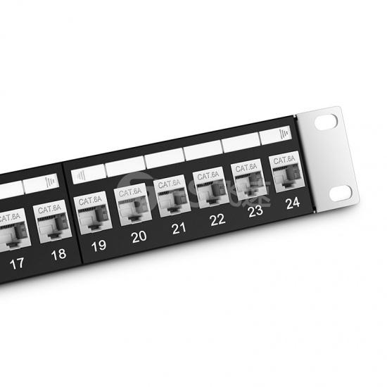 1U 24口 Cat6a超六类屏蔽(STP) 直通型网络配线架
