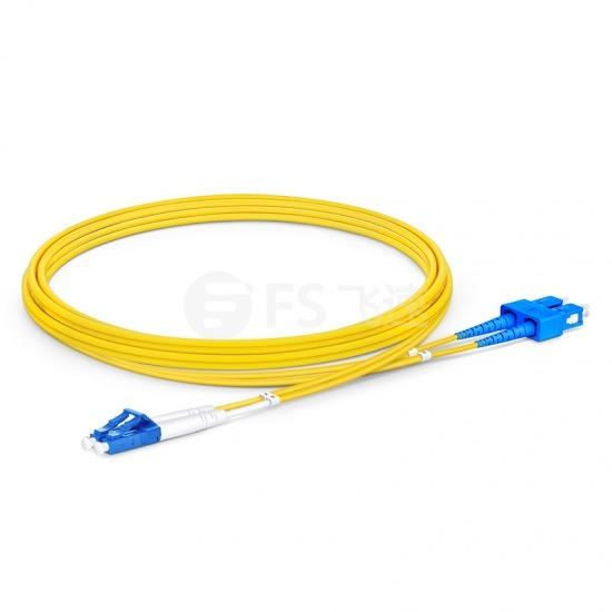 2m LC /UPC-SC /UPC双工单模OS2光纤跳线-2.0mm PVC(OFNR)
