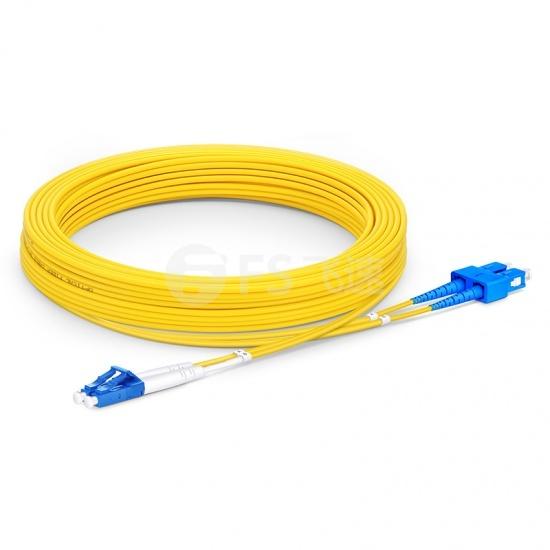 10m LC /UPC-SC /UPC双工单模OS2光纤跳线-2.0mm PVC(OFNR)