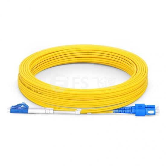 15m LC /UPC-SC /UPC双工单模OS2光纤跳线-2.0mm PVC(OFNR)