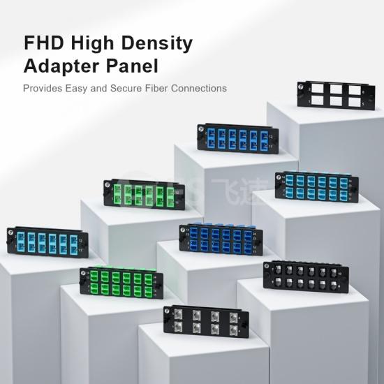 FHD 24芯 12*LC/UPC双工 多模(OM3/OM4)光纤适配器面板,陶瓷套管