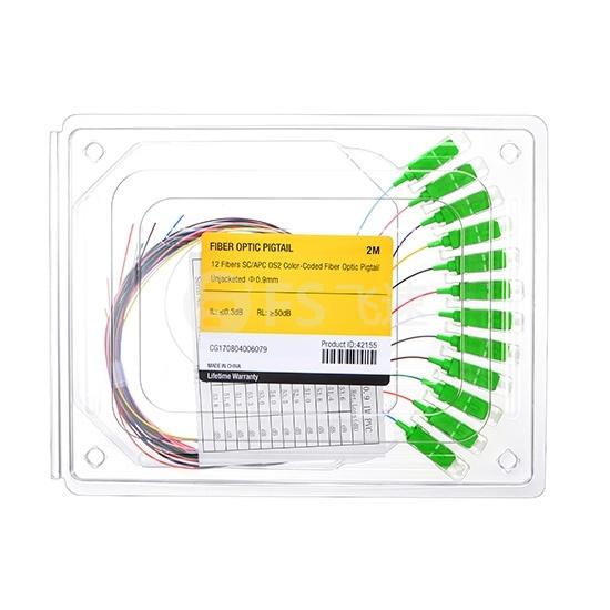 2m 12芯 SC/APC 单模 彩色光纤尾纤-无外护套