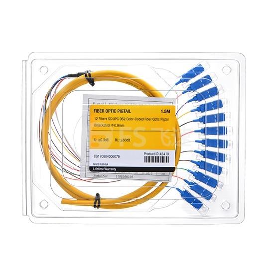 1.5m 12芯 SC/UPC 单模 束状圆缆光纤尾纤-0.9mm PVC护套