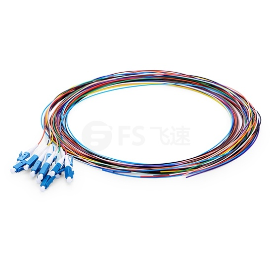 1m 12芯 LC/UPC 单模 彩色光纤尾纤-无外护套