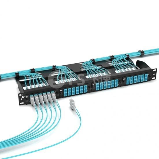 FHD 12芯 6*LC/UPC双工 多模OM4 光纤适配器面板,陶瓷套管