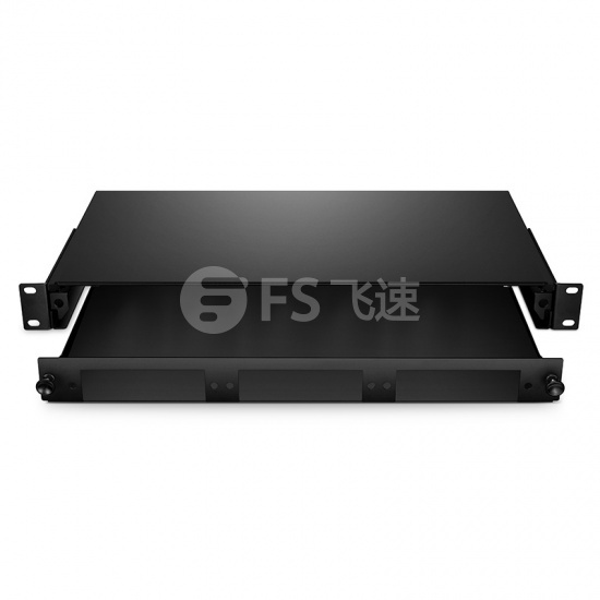 1U 滑出机架式 LGX 光纤配线箱 空机箱,可装载3个LGX光纤配线盒
