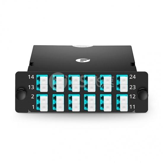 FHD 24芯 OM4 MTP®光纤配线盒,2xMTP®-12转12xLC双工,A极性,0.35dB插损