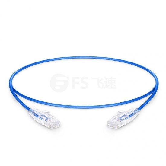 0.3m Cat6六类非屏蔽(UTP)细径网络跳线,卡沟设计,PVC护套,蓝色