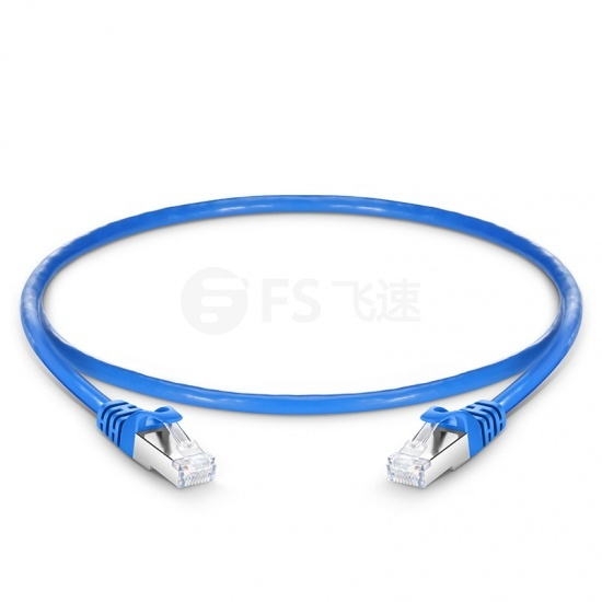 0.3m Cat6六类双屏蔽(SFTP)网络跳线,卡沟设计,蓝色,PVC CMX
