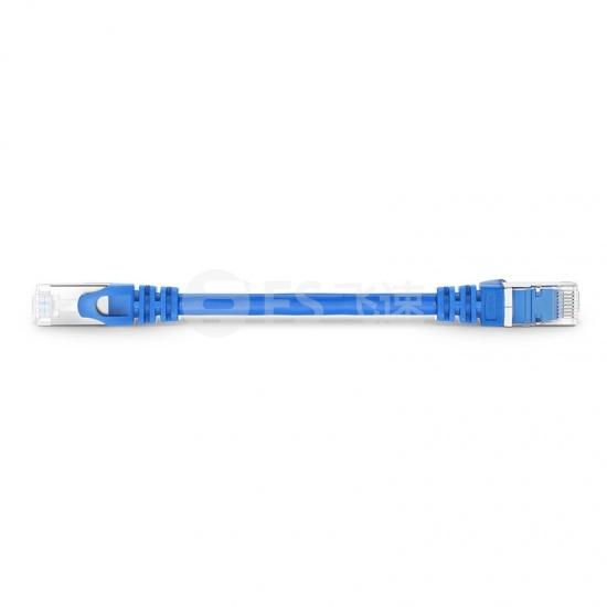 0.15m Cat6a超六类双屏蔽(SFTP)网络跳线,卡沟设计,蓝色,PVC CMX