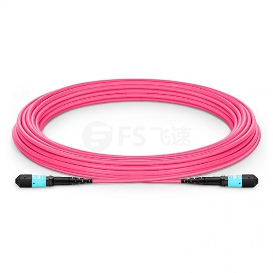 10m12芯 MTP®(母)万兆多模OM4主干光纤跳线, 极性A,低插损,Plenum (OFNP阻燃)