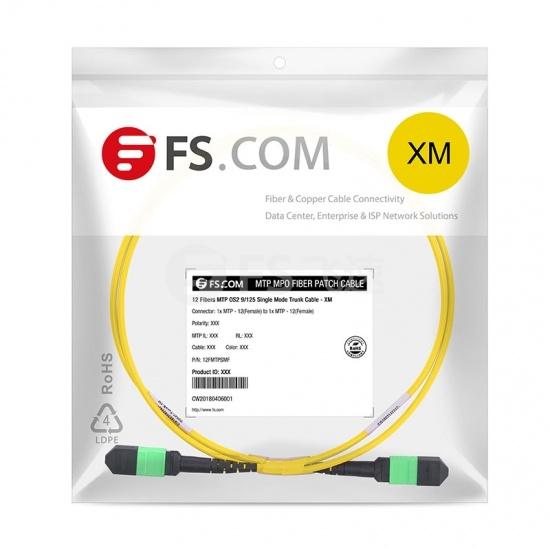 10m 12芯 MTP®(母)单模OS2主干光纤跳线,极性B,低插损,Plenum (OFNP阻燃)