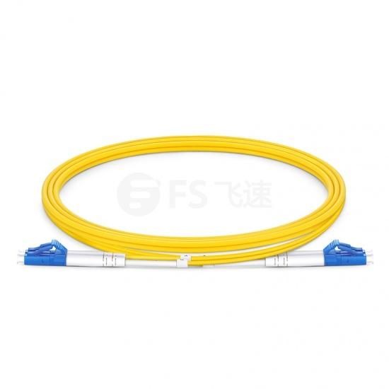 1m LC/UPC-LC/UPC双工单模OS2光纤跳线,0.12dB低插损,弯曲不敏感,PVC(OFNR)