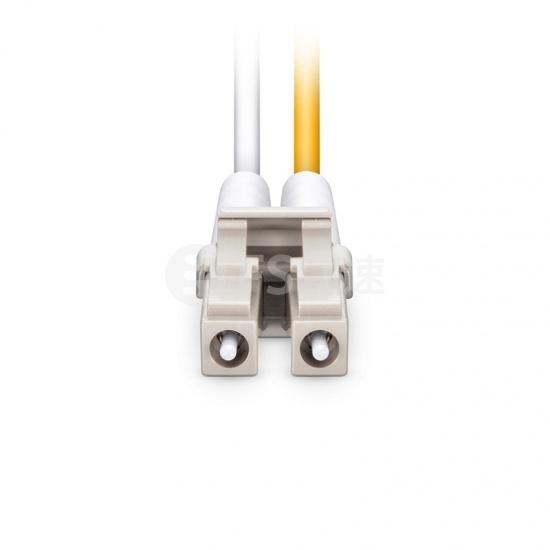 1m LC/UPC-LC/UPC双工多模OM4光纤跳线,0.15dB低插损,弯曲不敏感,PVC(OFNR)