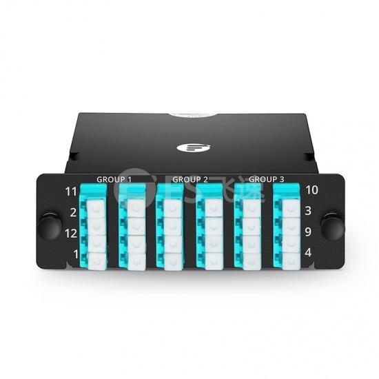 FHD 24芯 OM4 MTP®光纤配线盒,3xMTP®-8转6xLC四工,通用极性,0.35dB插损