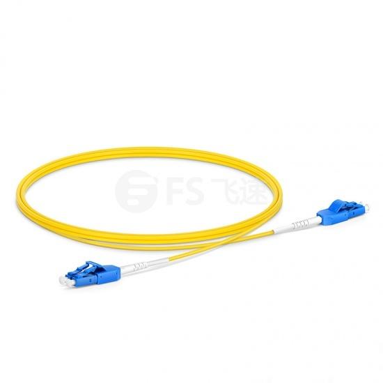 1m  LC/UPC-LC/UPC双工单模OS2光纤跳线,一管双芯,弯曲不敏感, PVC(OFNR)