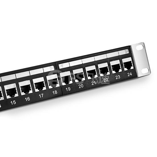 1U 24 口Cat5e 超五类屏蔽(STP)直通型网络配线架