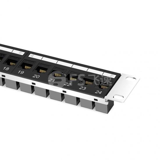 1U  24口  Cat6六类非屏蔽(UTP) 直通型网络配线架