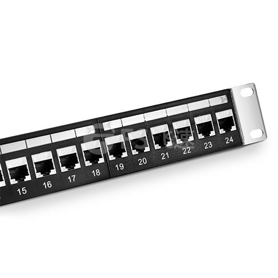 1U 24口 Cat6六类屏蔽(STP) 直通型网络配线架