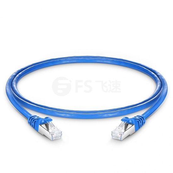 0.9m Cat6六类双屏蔽(SFTP)网络跳线,卡沟设计,蓝色,PVC CMX