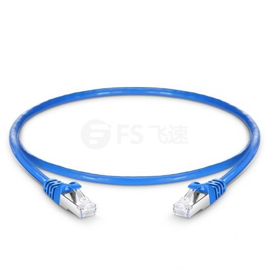 0.6m Cat6a超六类双屏蔽(SFTP)网络跳线,卡沟设计,蓝色,PVC CMX