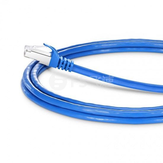2.1m Cat6a超六类双屏蔽(SFTP)网络跳线,卡沟设计,蓝色,PVC CMX