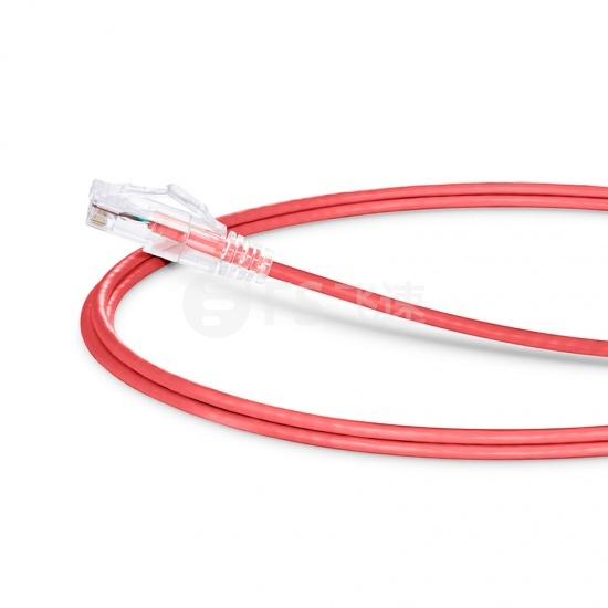 2.1m Cat6六类非屏蔽(UTP)细径网络跳线,卡沟设计,PVC护套,红色