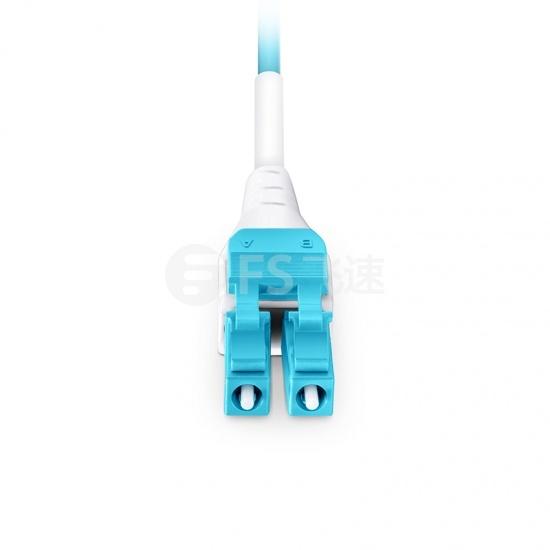 5m LC/UPC-LC/UPC 双工多模OM4 BIF光纤跳线,一管双芯, 扁平卡扣, PVC(OFNR)