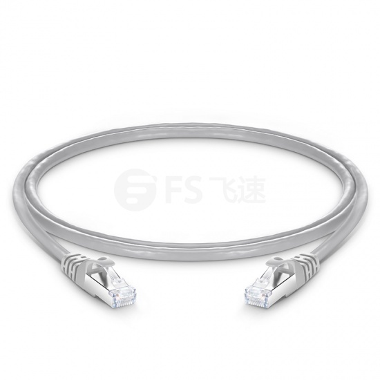 0.9m Cat6a超六类双屏蔽(SFTP)网络跳线,卡沟设计,灰色,PVC CMX