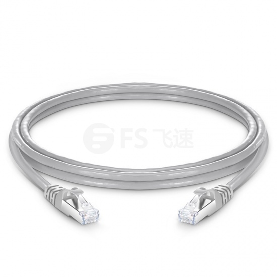 1.8m Cat6a超六类双屏蔽(SFTP)网络跳线,卡沟设计,灰色,PVC CMX