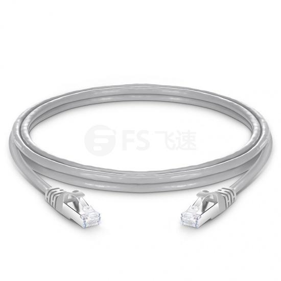 2.1m Cat6a超六类双屏蔽(SFTP)网络跳线,卡沟设计,灰色,PVC CMX