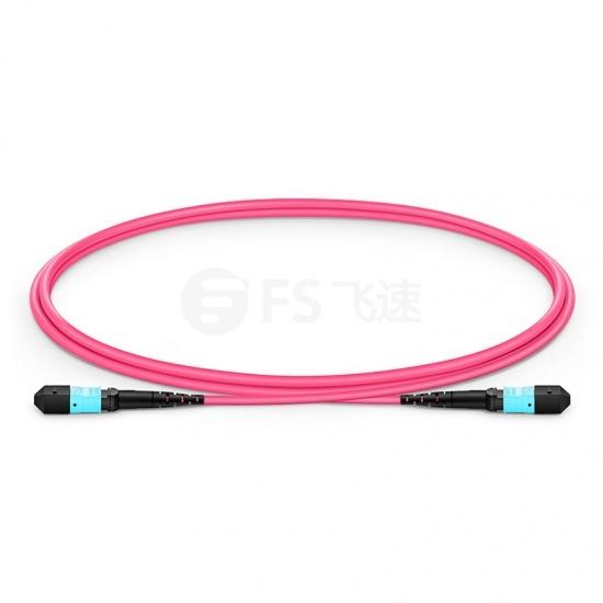 1.5m 12芯 MTP®(母)万兆多模OM4 (OM3)主干光纤跳线,极性B,低插损,Plenum (OFNP阻燃)
