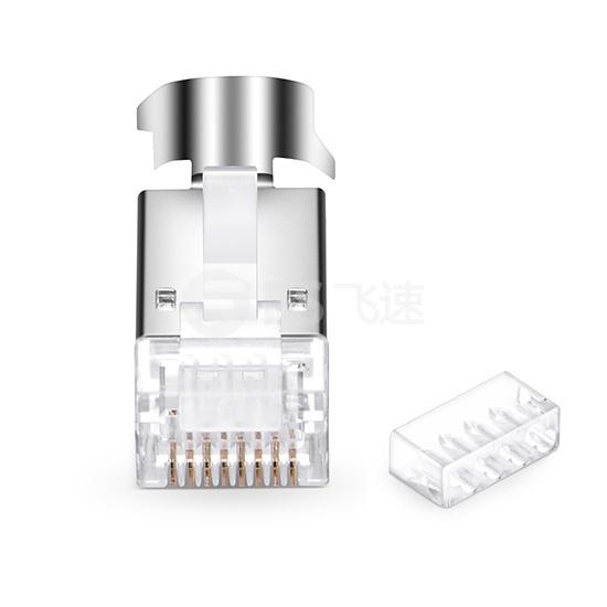 Cat6a 超六类屏蔽RJ45细径网线水晶头 带固定配件(50个/包)