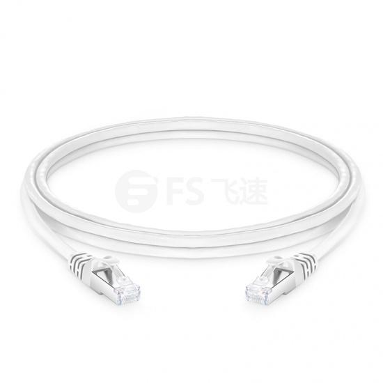 2.1m Cat6a超六类双屏蔽(SFTP)网络跳线,卡沟设计,白色,PVC CMX